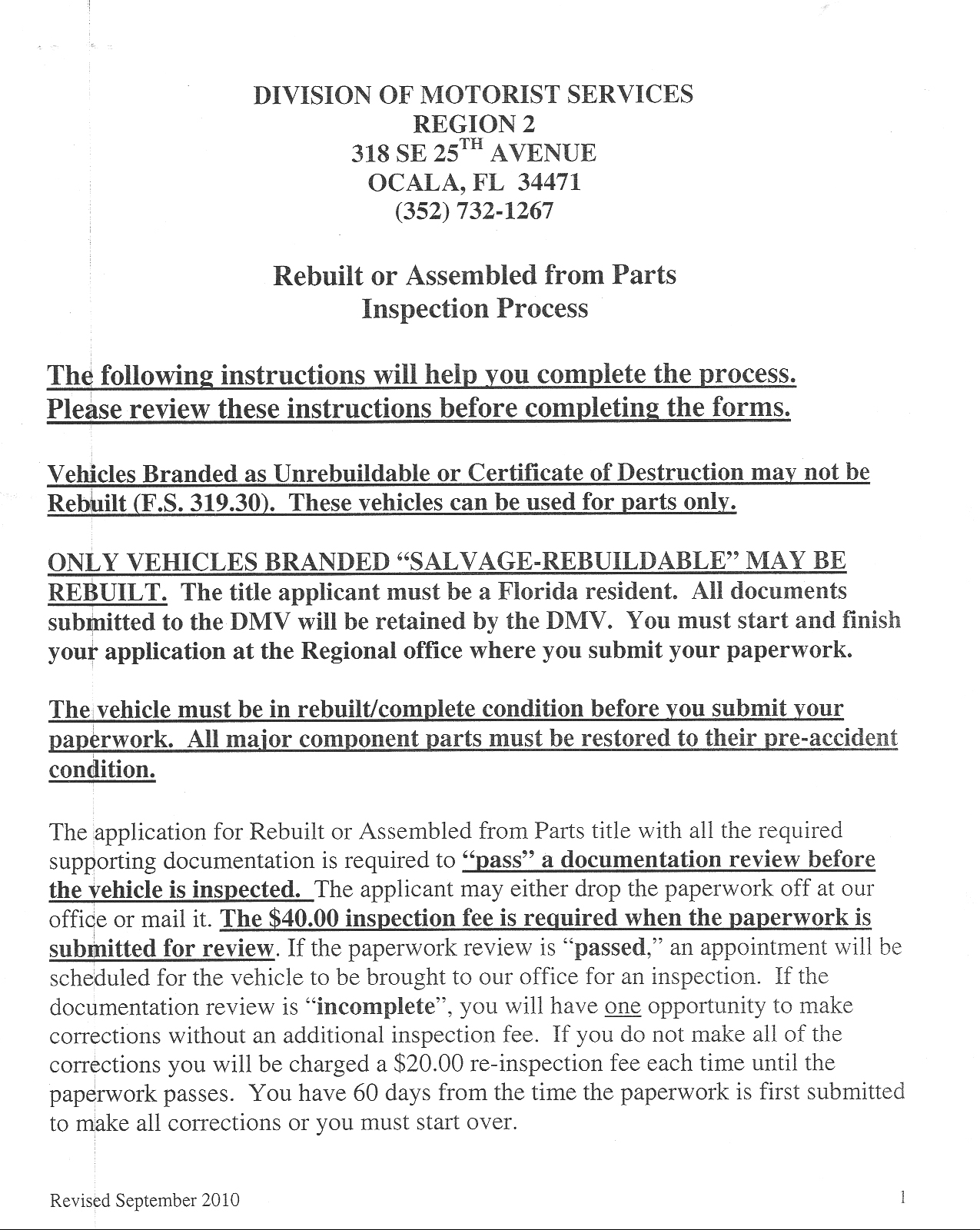 Florida DMV special construction pamphlet two, page one
