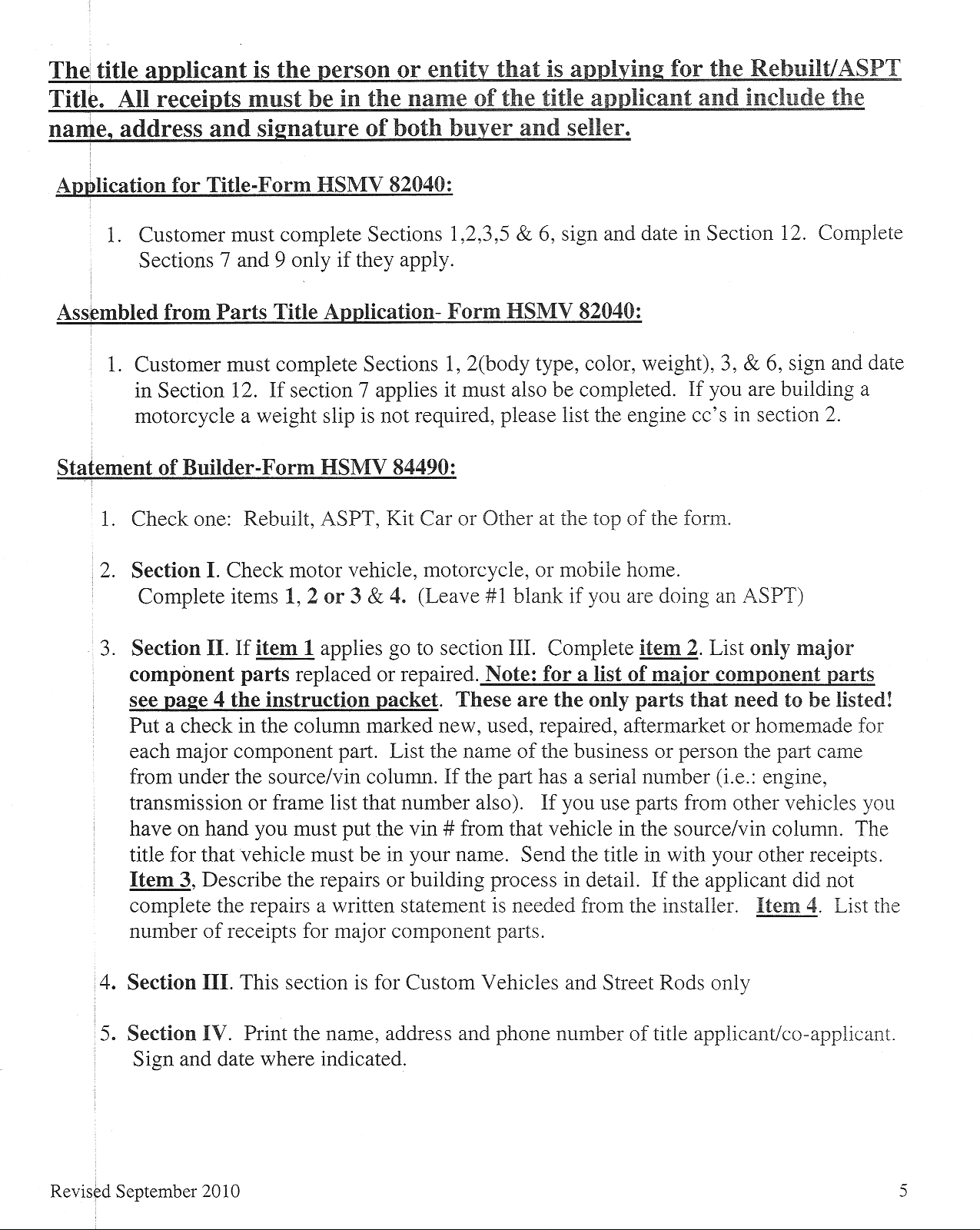 Florida DMV special construction pamphlet two, page five