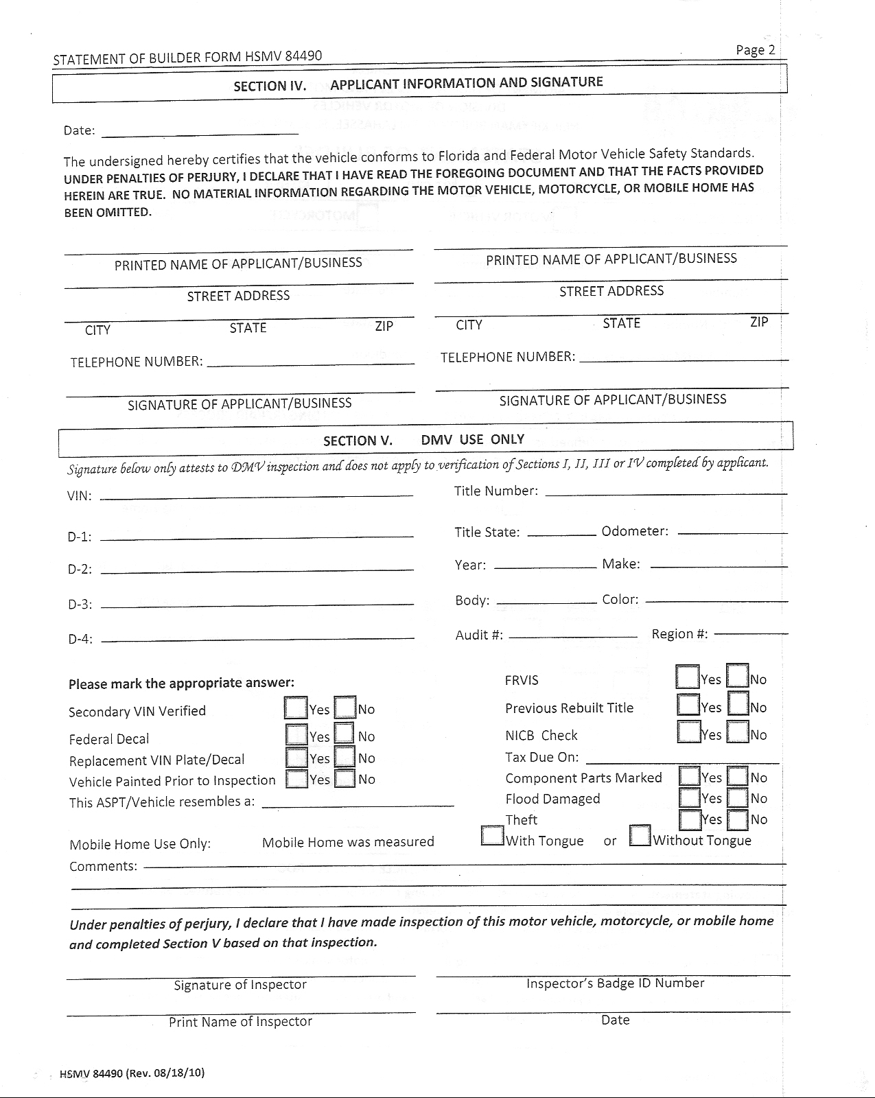 Florida DMV special construction pamphlet two, page seven, side two