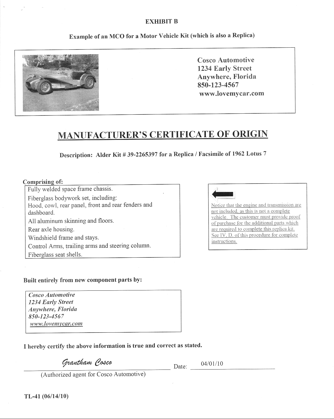 Florida DMV special construction pamphlet one, page nine