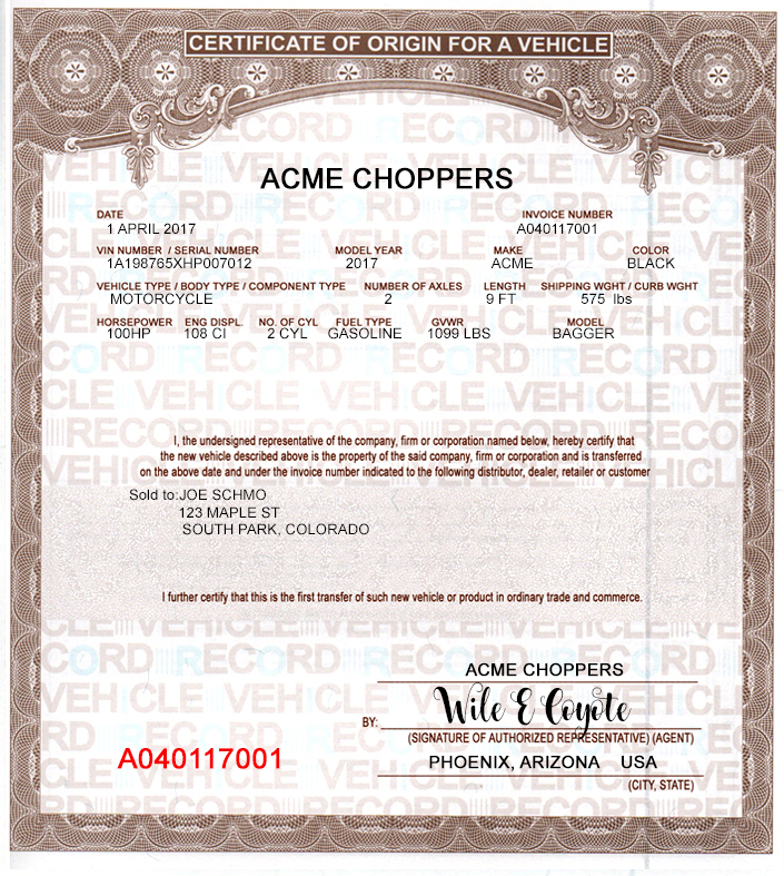 MOTORCYCLE MCO CERTIFICATE OF ORIGIN SAMPLE