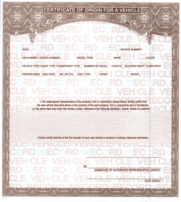 VEHICLE MCOs MSOs Certificate of Origin – Certificate of Origin Forms