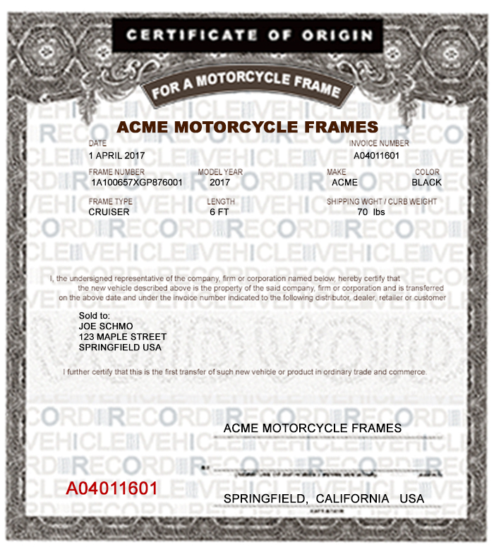 SAMPLE PRINTED MOTORCYCLE FRAME MCO MSO