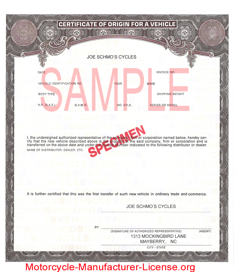 Manufacturers Certificate of Origin for a Vehicle