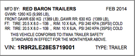TRAILER VIN LABEL