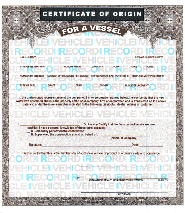 Blank Boat Mco Forms  Printing Template Vessel Certificates Of