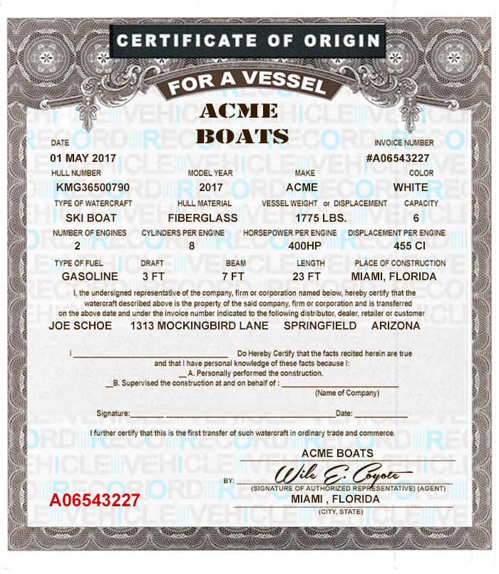 12 Blank Boat Mco Forms & Printing Template Vessel Certificates Of