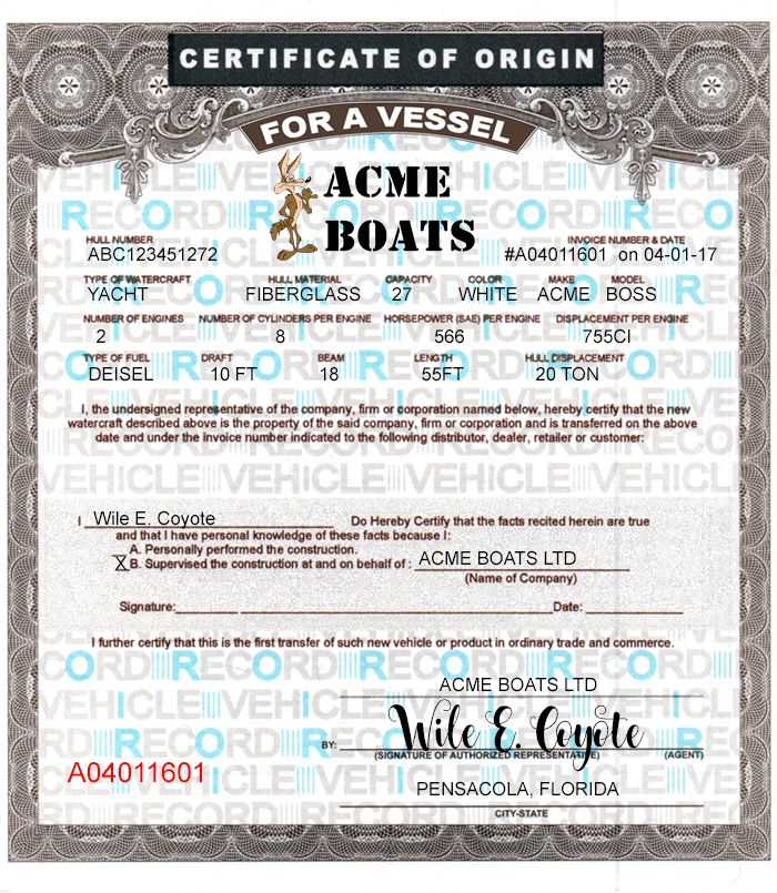 6 blank boat mco forms printing template certificates of for Certificate of manufacture template